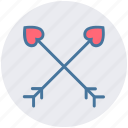archery, arrow, bow, cupid bow, heart, heart arrows icon
