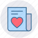 document, heart, list, love, news, paper, valentine icon