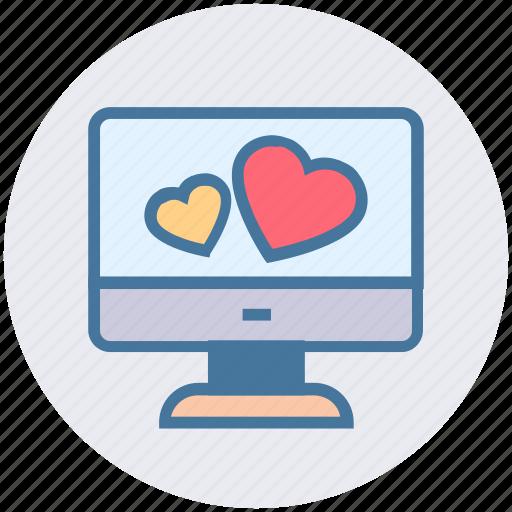 display, heart, lcd, love, love sign, screen, screen heart icon