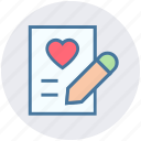 document, heart, list, love, paper, pencil, writing icon