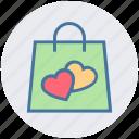 hand bag, heart, love, shopper bag, shopping bag, valentine gift, valentine shopping icon