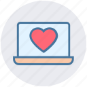 dating, heart, laptop, love, macbook, marriage, valentine icon