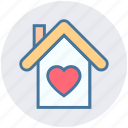 building, heart, home, house, love, sweet home, valentine icon