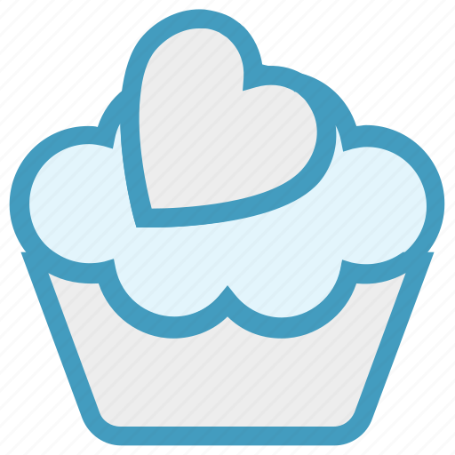 Cake, cupcake, dessert, heart, pink, sweet icon - Download on Iconfinder