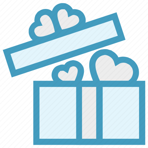 gift, gift box, heart, love, open gift, present, wedding gift icon