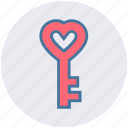 heart, heart key, key, key to heart, lock, love key, security icon