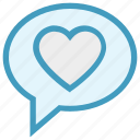 chat, communication, conversation, heart, love, message, valentine icon