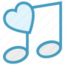 heart, love, music note, musical, quaver, romantic music, romantic song