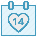14 february, calendar, date, day, heart, valentine day