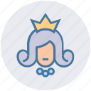 avatar, beauty, princess, princess crown, queen, wedding, woman icon