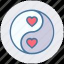 family, harmony, heart, love, yang, yin, yin and yang icon