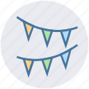 birthday, celebration, decoration, flags, holiday, party, popper icon