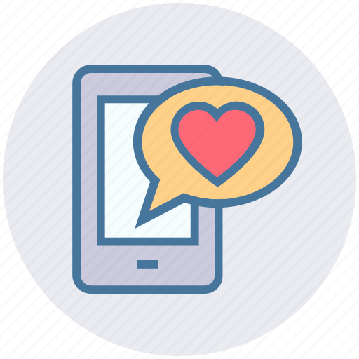 chat, heart, love, message, mobile, valentine icon