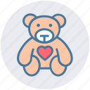 bear, heart, love teddy, soft toy, teddy, teddy bear, teddy with heart icon