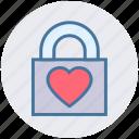 heart, heart padlock, lock, locked, love lock, privacy, valentines icon