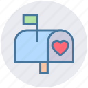 email, heart, love letter, mail, message, post, postbox icon