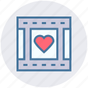 film, film strip, heart, love, movie, romantic movie, romantic video icon