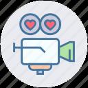 camera, heart, movie, shooting camera, valentines, video, wedding icon