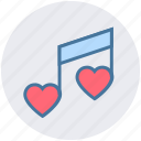 heart, love, music note, musical, note, romantic music, romantic song icon