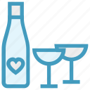 alcoholic drink, beverage, bottle with heart, drink, glass, heart, wine icon