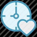 bookmark, clock, heart, love, timepiece, timer, watch icon
