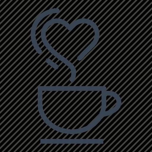 coffee, cup, heart, romantic, smoke icon