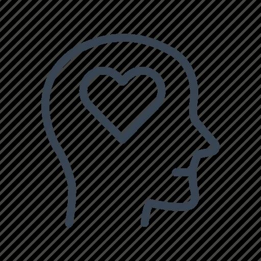 head, heart, in, love, lover icon