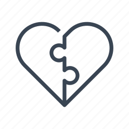 connected, connection, couple, heart, love, puzzle icon