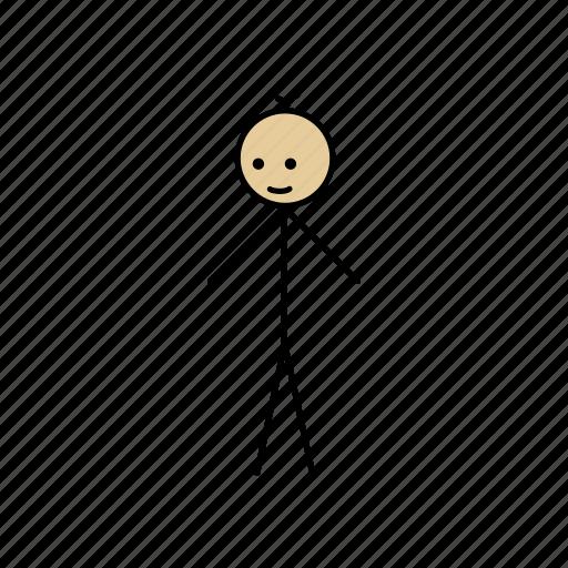 alone, boy, happy, human, stick, stickman icon