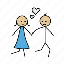 boy, fall, girl, love, romance, romentic, walk icon