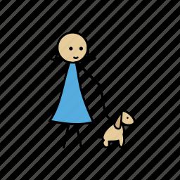 dog, friend, girl, human, lady, love, stick icon