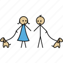 boy, dog, friend, girl, love, stick, walk icon