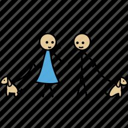 boy, dog, friend, girl, love, stick, walk icon