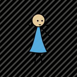 alone, girl, happy, human, stick, stickgirl icon
