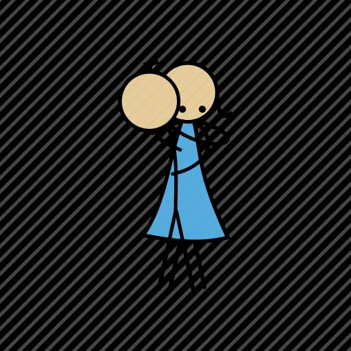 boy, girl, hug, human, sticky icon