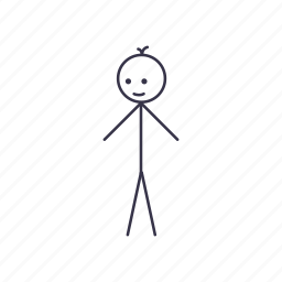 alone, boy, happy, human, stick, stickman icon