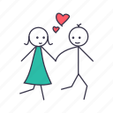 boy, fall, girl, in, love, romance, walk icon