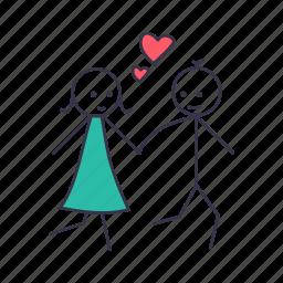 boy, fall, girl, in, love, romance, walk icon