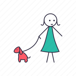dog, friend, girl, human, lady, stick, with icon