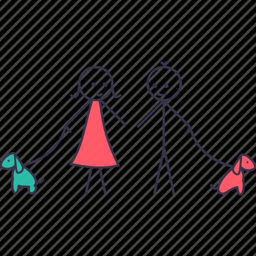 boy, friend, girl, human, love, stick, walk icon