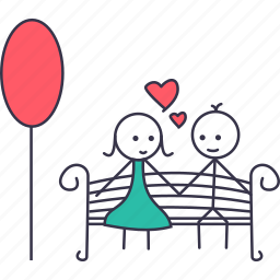 boy, date, flowers, garden, girl, love, stick icon