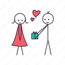 date, gift, heart, love, romantic, valentine icon