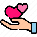 giving, hand, love, romance, valentine icon