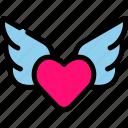 love, romance, valentine, wing icon