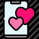 love, phone, romance, valentine icon