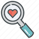 glass, heart, hearts, love, magnifying, valentine, valentines icon