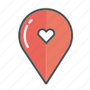 heart, love, map, valentines, valentine, hearts, gps icon