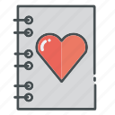 heart, hearts, letter, love, notebook, valentine, valentines icon