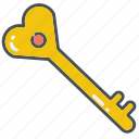 heart, hearts, key, lock, love, valentine, valentines icon