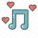 heart, hearts, love, note, song, valentine, valentines icon